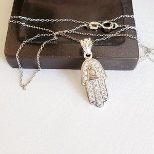 Sterling Silver Crystal Hamsa
